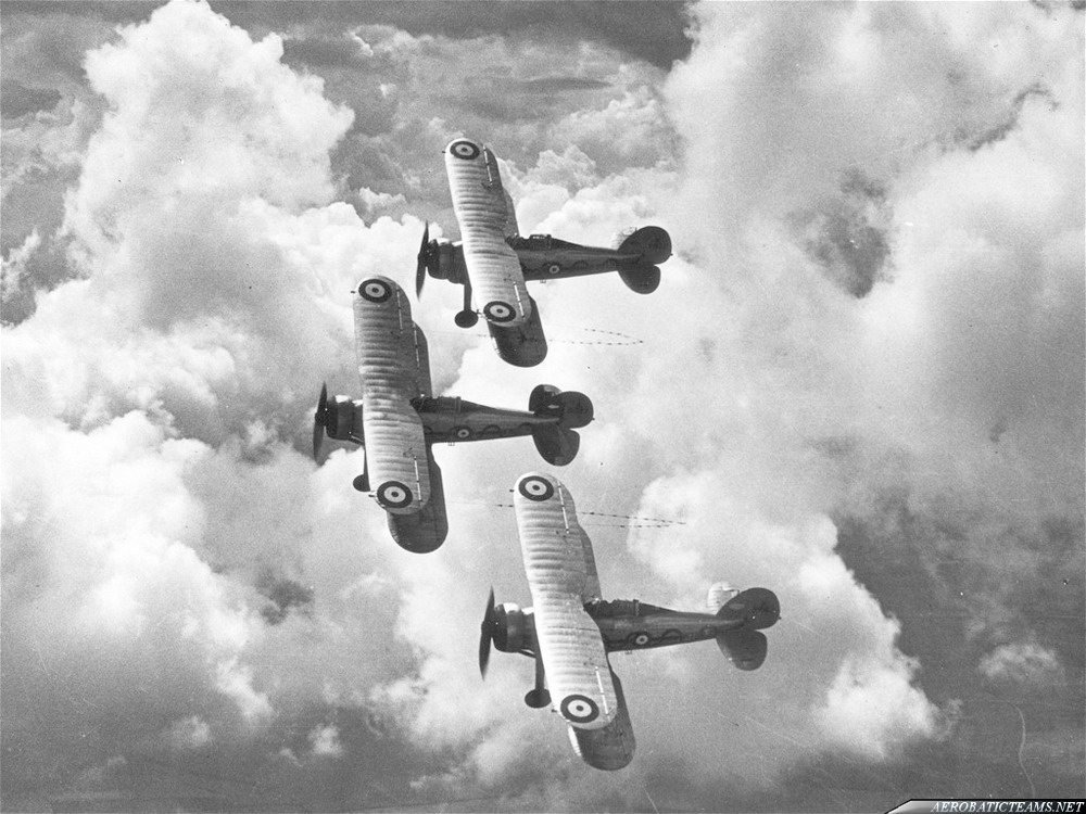 Gloster Gladiator Aerobatic Display Team. 1938 those three Gloster Gladiator aircrafts of No. 87 Squadron were the last aerobatic team in the RAF before World War II