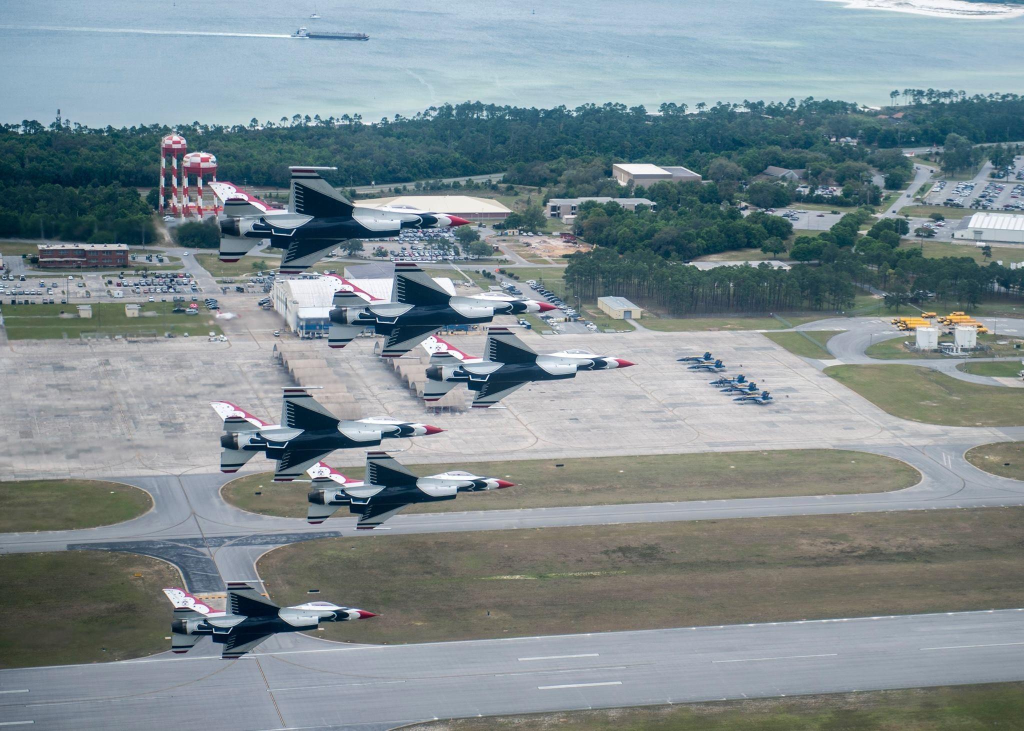 Thunderbirds over Pensacola Naval Base. Photo USAF