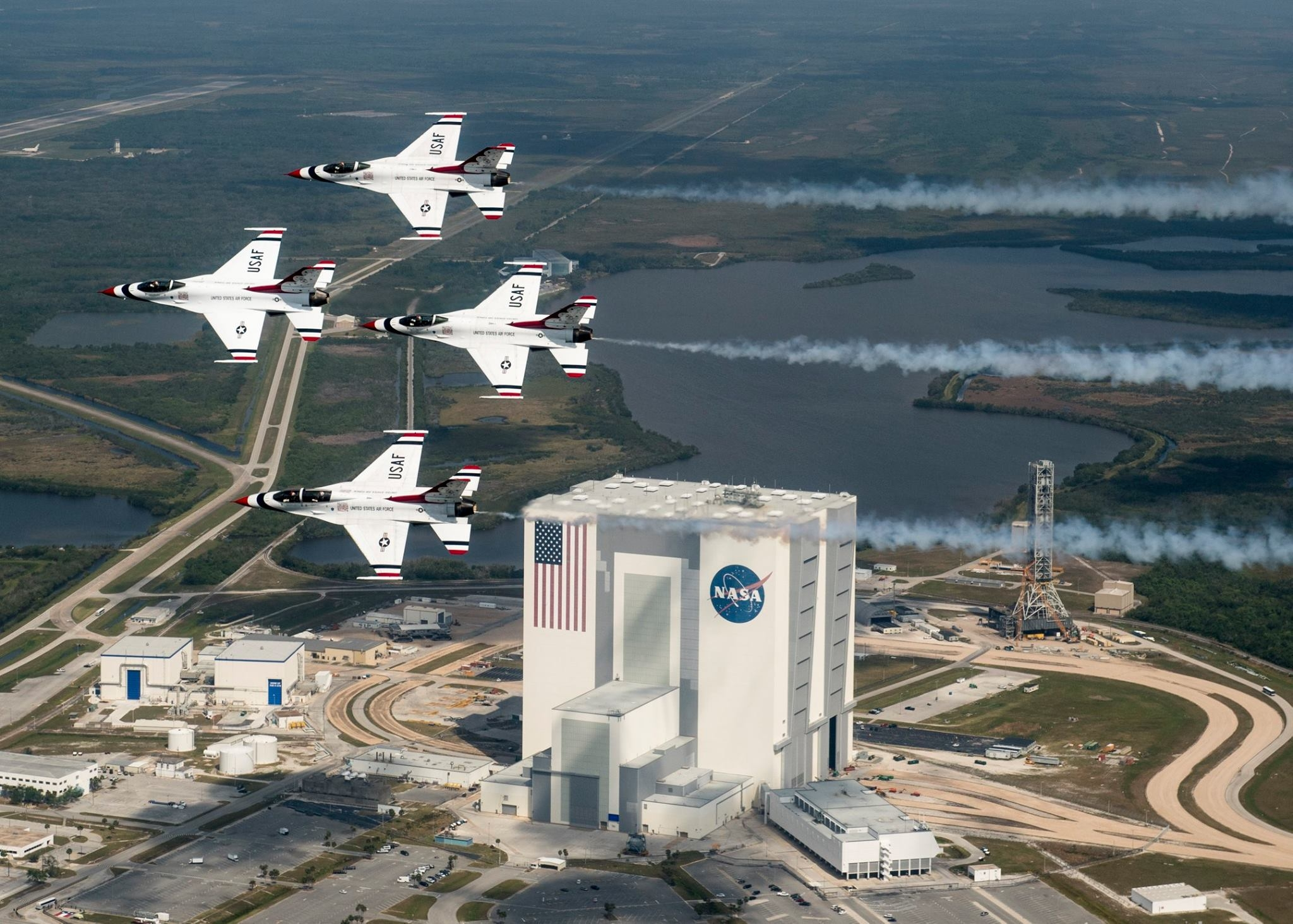 Buzz Aldrin with Thunderbirds over Launch Complex 39A at the Kennedy Space Center. Photo USAF