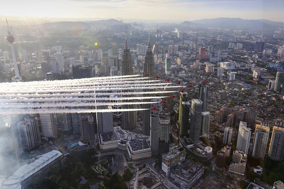 Red Arrows over Kuala Lumpur, Malaysia. Photo RAF