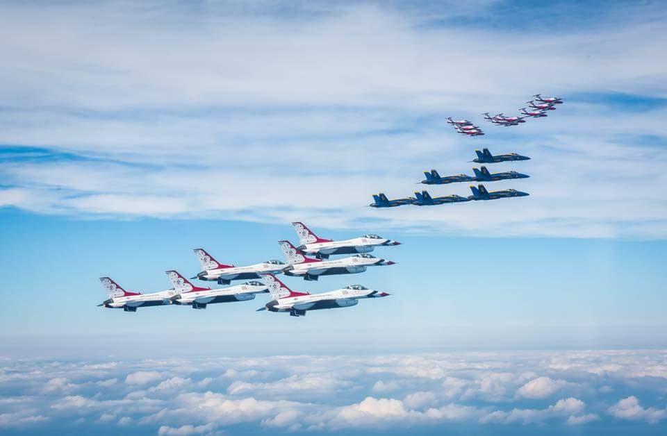 Snowbirds, Thunderbirds and Blue Angels in formation flight