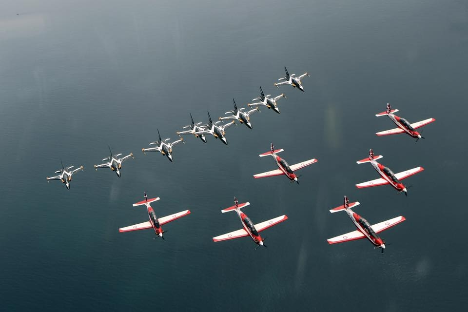 Joint formation flight of Black Eagles and Jupiter aerobatic teams