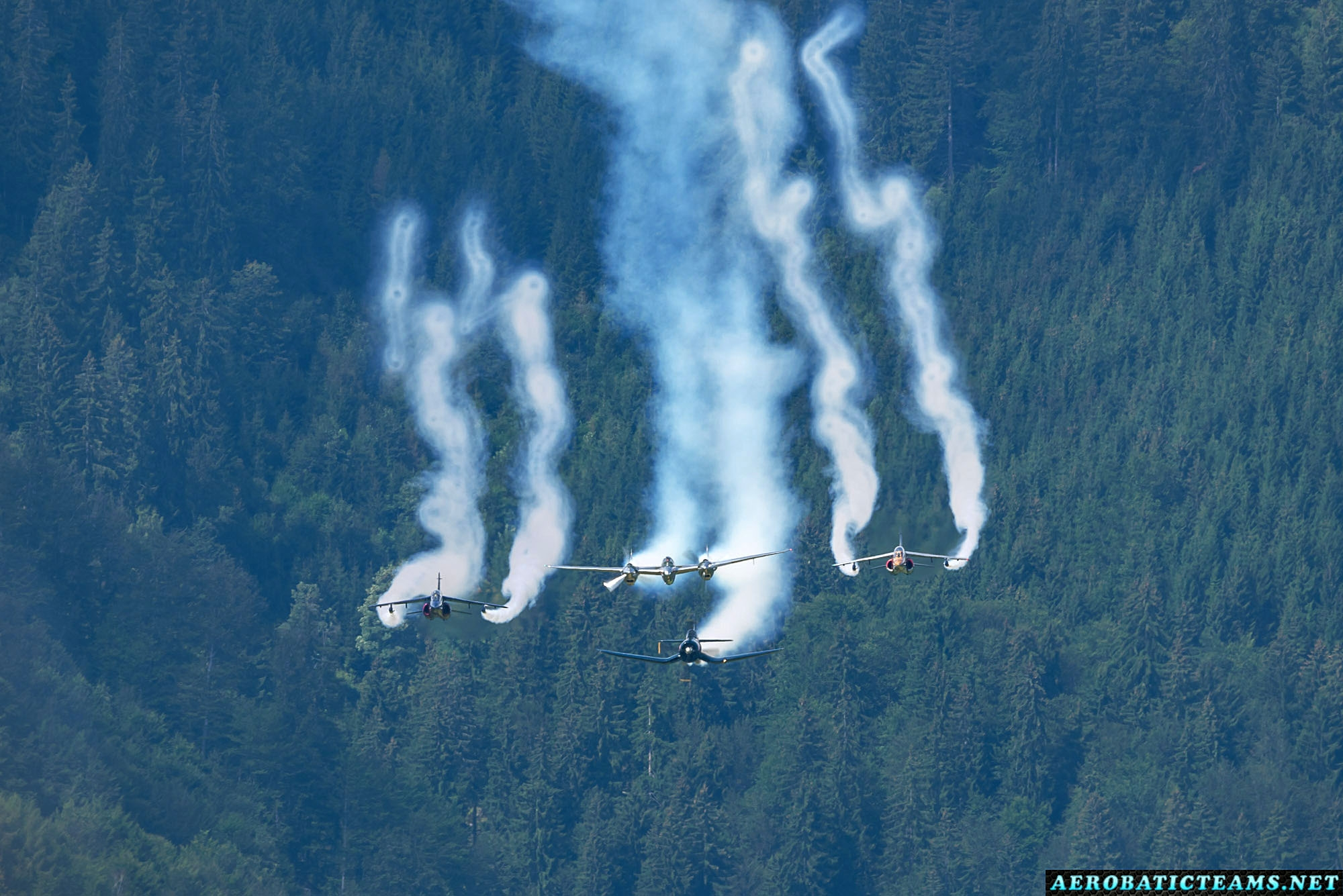Red Bull formation - P-38 Lightning, F4U-4 Corsair and Alpha Jets