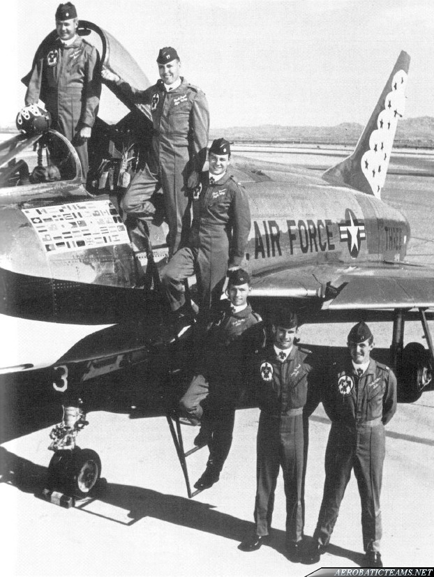 1967 Thunderbirds team from top to bottom: Lader Maj. Neil Eddins, Capt. Mack Angel, Maj. Stan Musser, Capt. Jack Dickey, Capt. Tony McPeak and Capt.Mike Miller