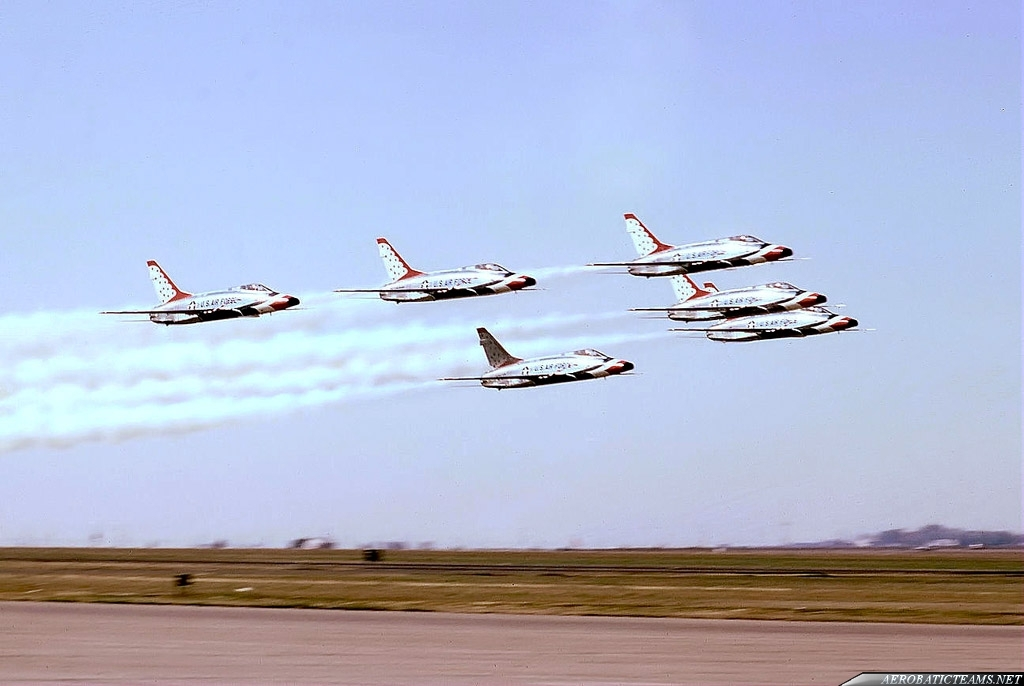 Thunderbirds F-100D Super Sabre. 1967 Reese AFB Airshow. Photo by Bob Denham