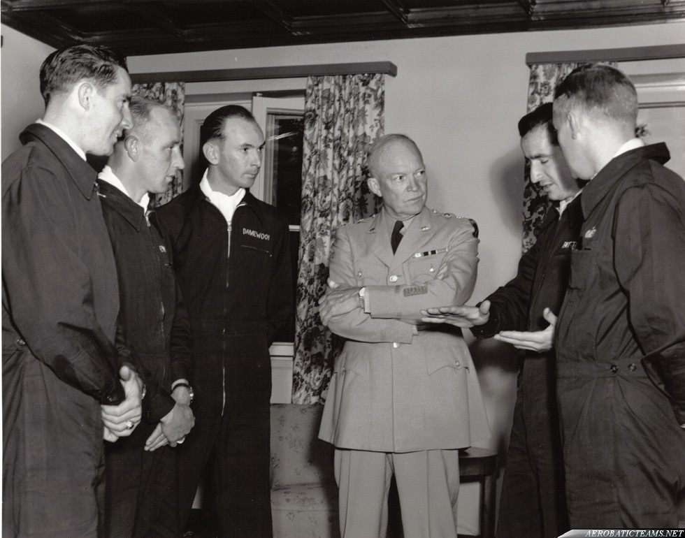 Skyblazers Pilots with Dwight Eisenhower. Photo via Kelly Evans