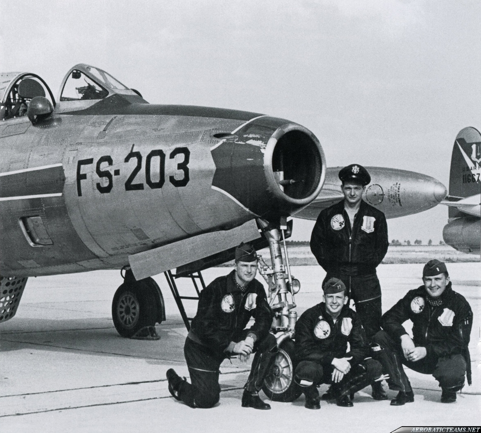 Skyblazers F-84G Thunderjet. 1953 Chaumont Airbase, France. Standing 1st. Lt. Walter M. Mayers and from left to right: Capt. Robert S. Fitzgerald, Capt. William N. Dilliard (leader) and 1st Lt. Jack N. Bennett. Photo by Col. William Dillard via Devid Mena