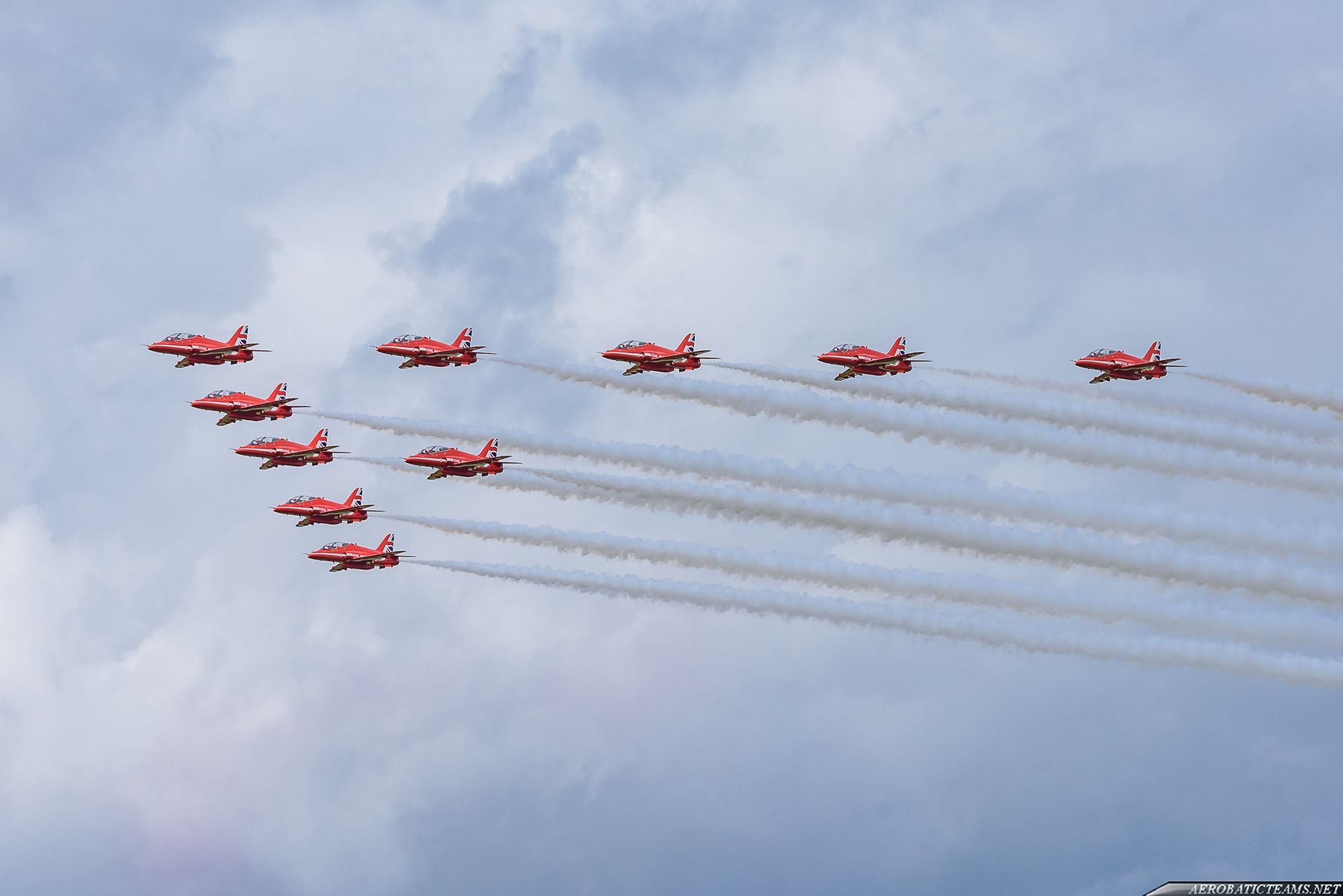 Red Arrows in ten-ship formation for photography purposes.