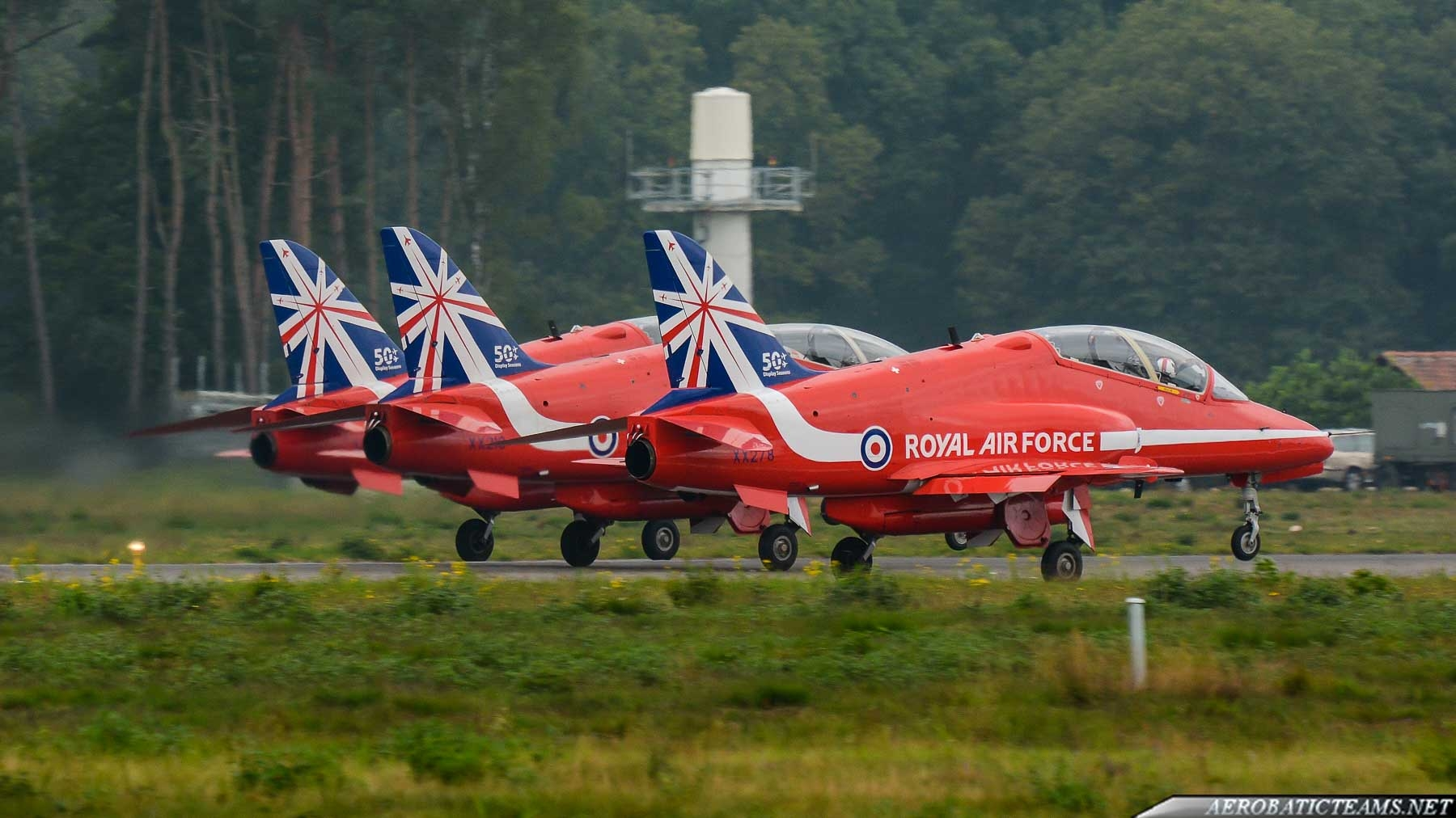 Red Arrows Hawk in 50th display season livery