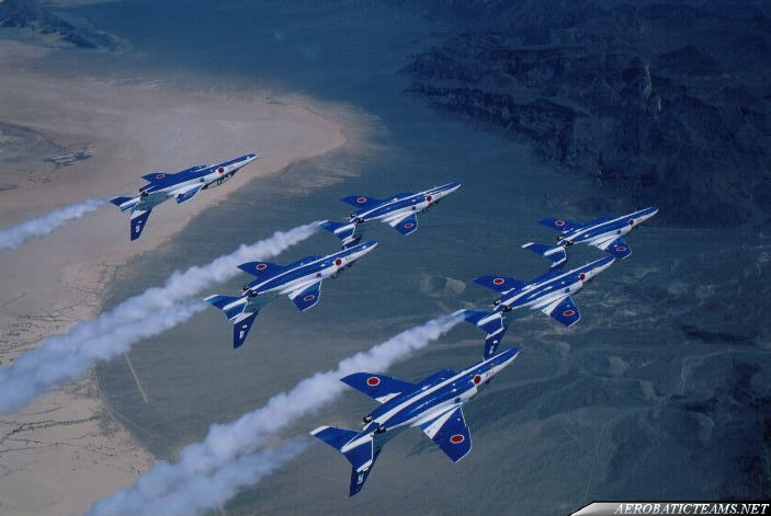 Blue Impulse Kawasaki T-4 over Nevada. Nellis AFB airshow 1997