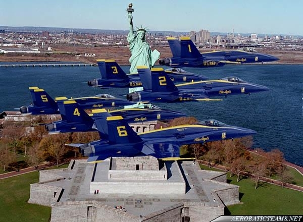 Blue Angels over Statue of Liberty