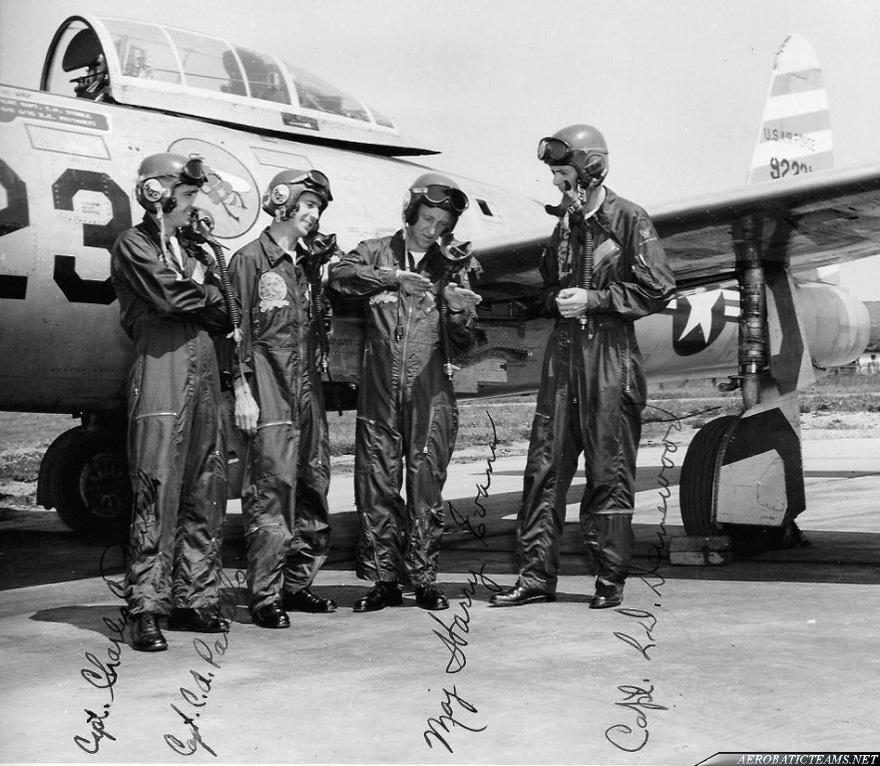 Skyblazers F-84E Thunderjet pilots. Photo via Kelly Evans