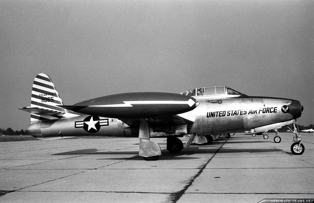 Skyblazers F-84E Thunderjet. Detroit Airshow in Aug 1952. Photo by Wm J Balogh Sr