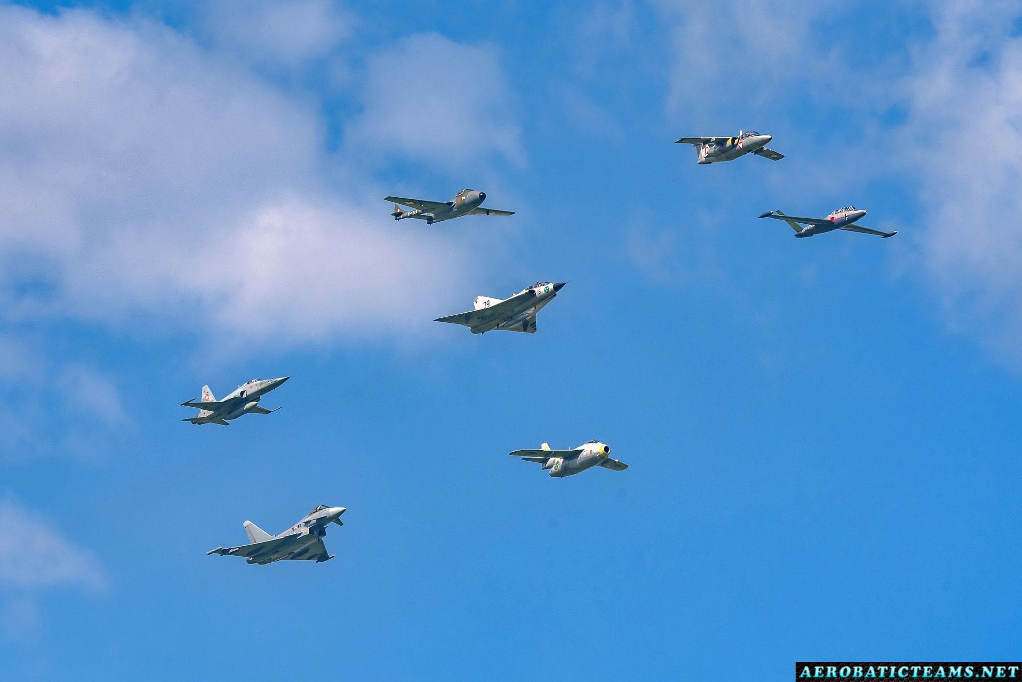Historic formation - de Havilland Vampire, SAAB J29 Tunnan, SAAB J35 Draken, F-5 Tiger, SAAB 105, Fouga Magistere and Eurofighter