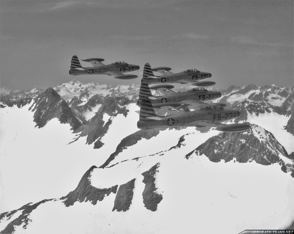 Skyblazers F-84E Thunderjet over Alps. Photo via Kelly Evans