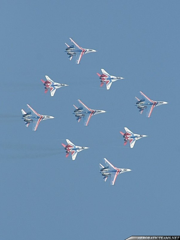 Russian Knights Su-27 and Swifts MiG-29 in joint formation flight named Kubinka Diamond.