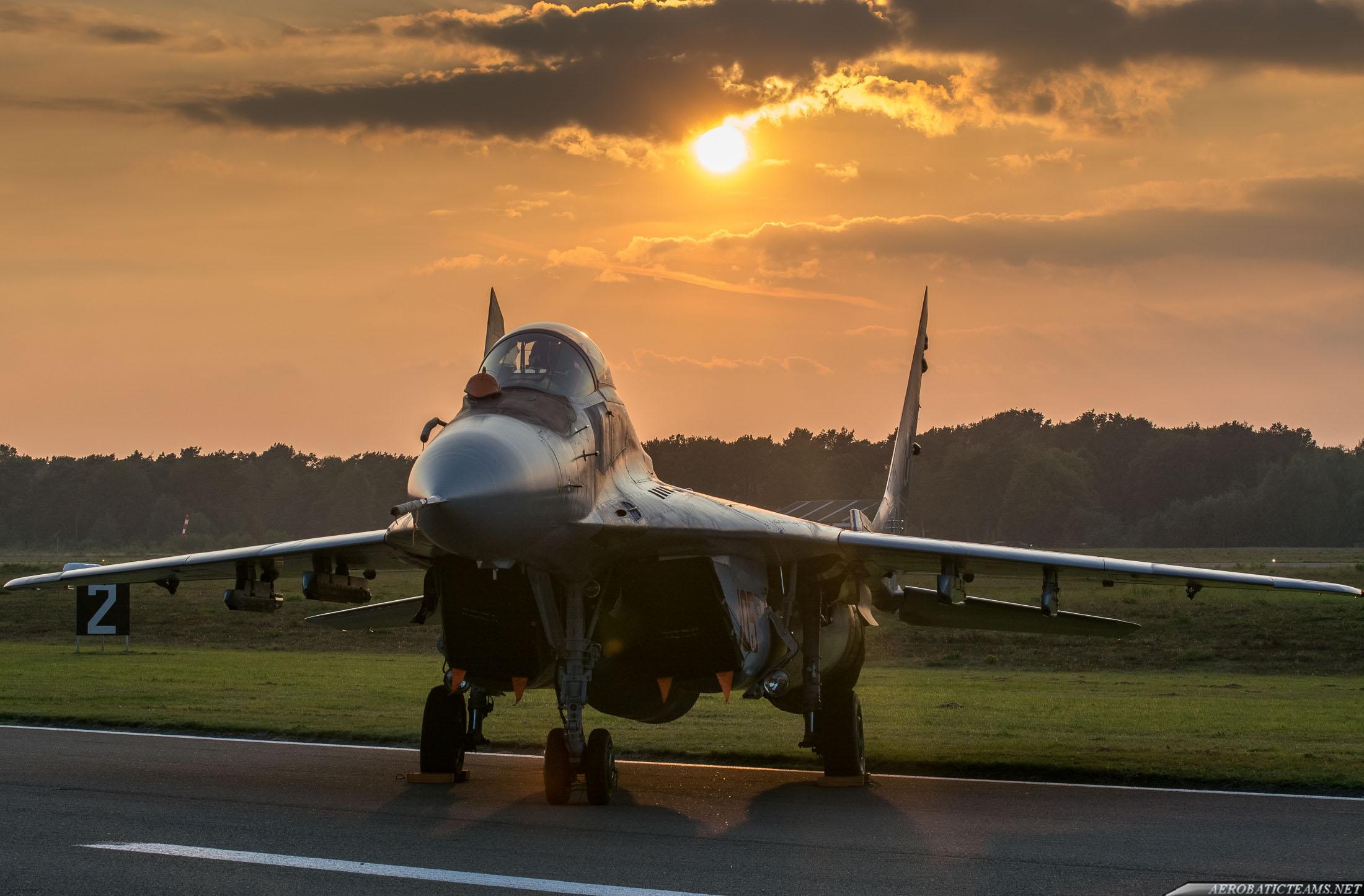 MiG-29 at sunset