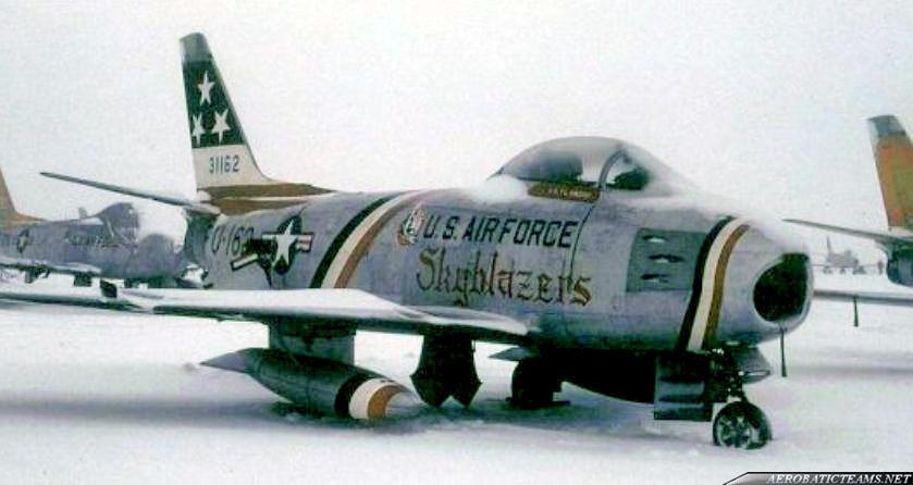 Skyblazers F-86F Sabre. 1956, Bitburg airbase, Germany paint scheme