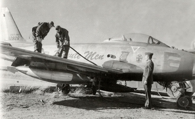 Minute Men F-86F-2 Sabre prepared for static display by flushing the fuel tanks