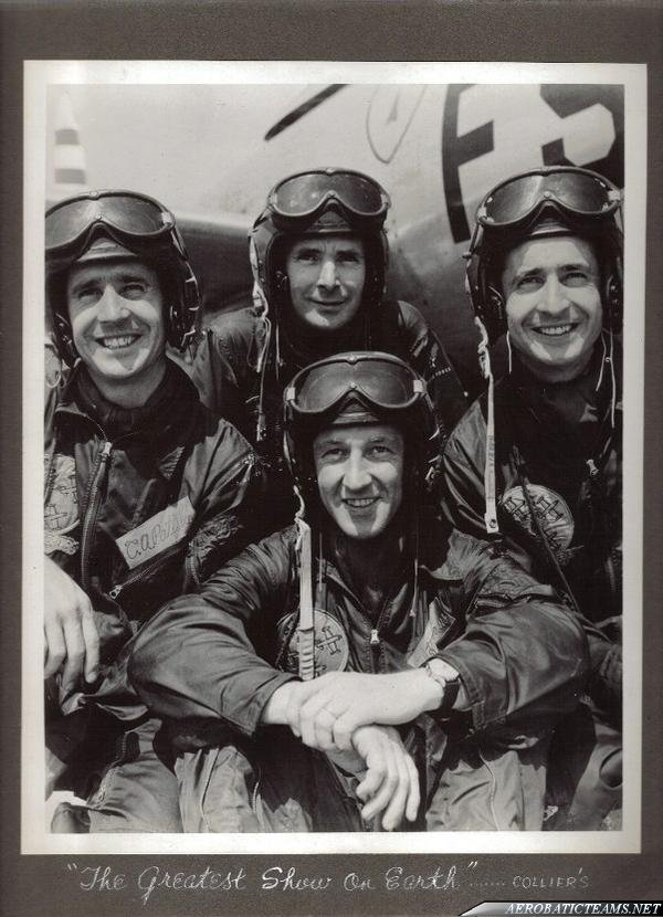First Skyblazers pilots: In front Maj. Harry K. Evans, in the middle Pattillo brothers and Lt. Lawerence D. Damewood