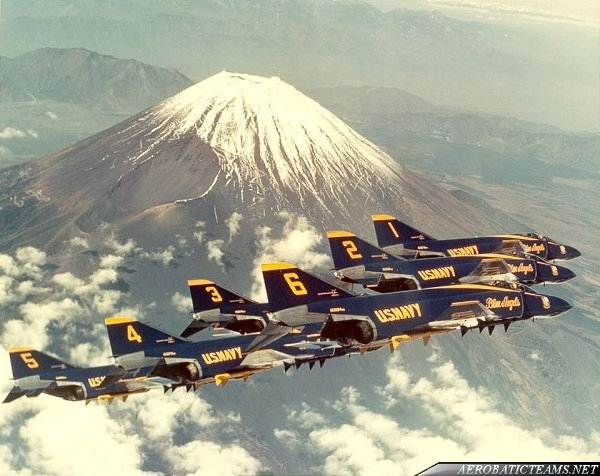 Blue Angels F-4J Phantom over Mount Fuji, Japan