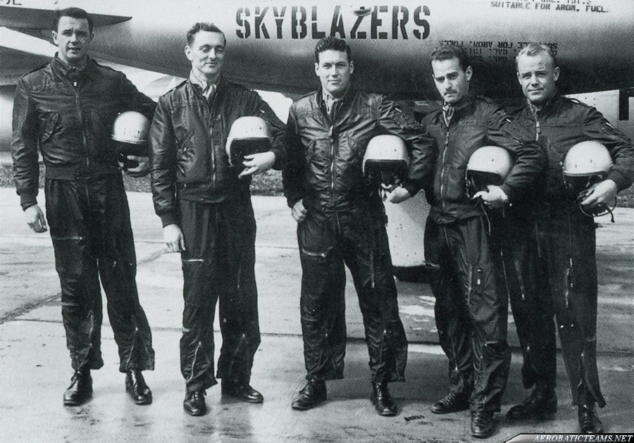 Skyblazers F-84G Thunderjet. 1953 Chaumont Airbase, France. 86th FBW pilots from left to right: Capt. Alexander Butterfield, right wing; Lt. Martin Detlie, slot; Maj. Robert Tomlinson, leader, Lt. Milton Byron, left wing; Lt. Hal Cross, alternate. Photo b