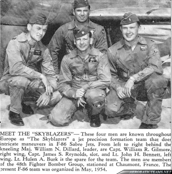Skyblazers F-86F Sabre 1954-55 pilots