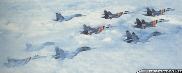 Russian Knights in formation with other Su-27s
