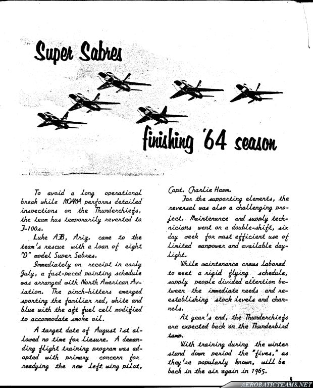 Thunderbirds F-105B Thunderchief newsletter 1964