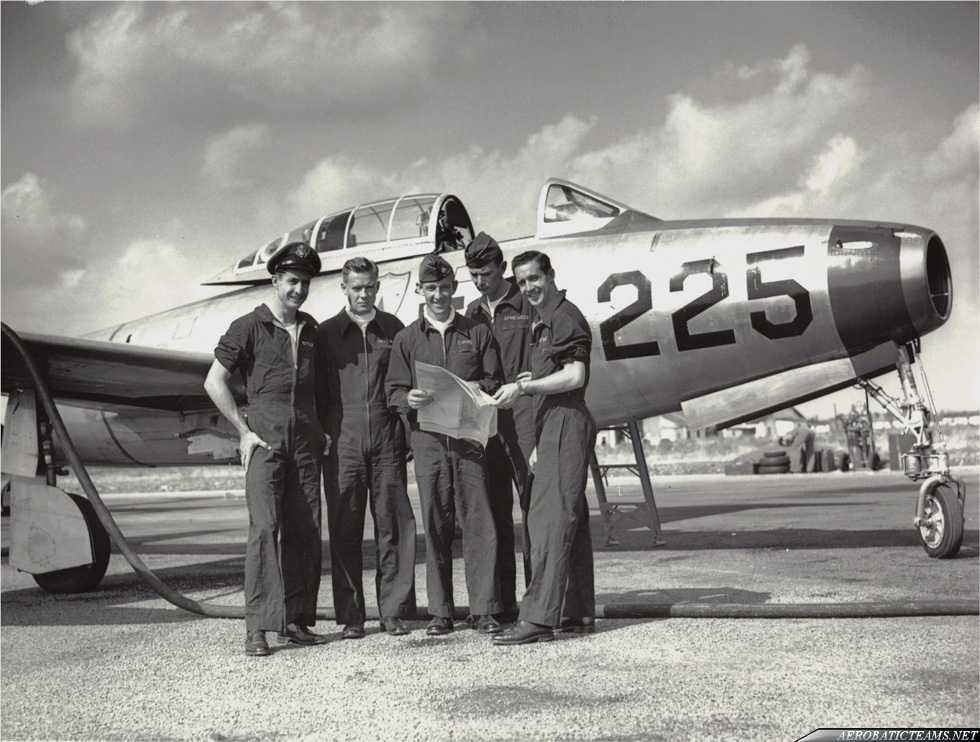 Skyblazers Pilots: from left to right Buck Pattillo, John Patrick O'Brien (Obie), Harry Evans, Dag Damewood and Bill Pattillo . Photo via Kelly Evans