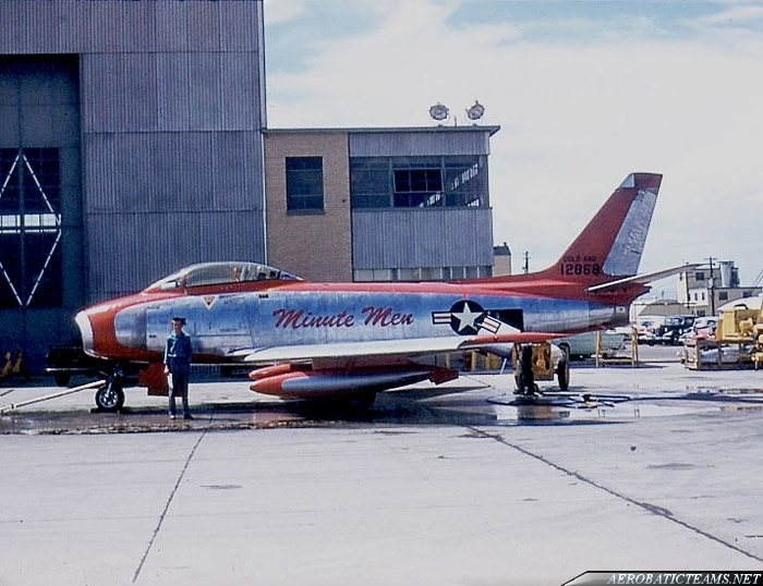 Minute Men F-86F-2 Sabre. Photo by Chuck Johnston Jr, summer of 1958, Buckley Air National Guard Base.