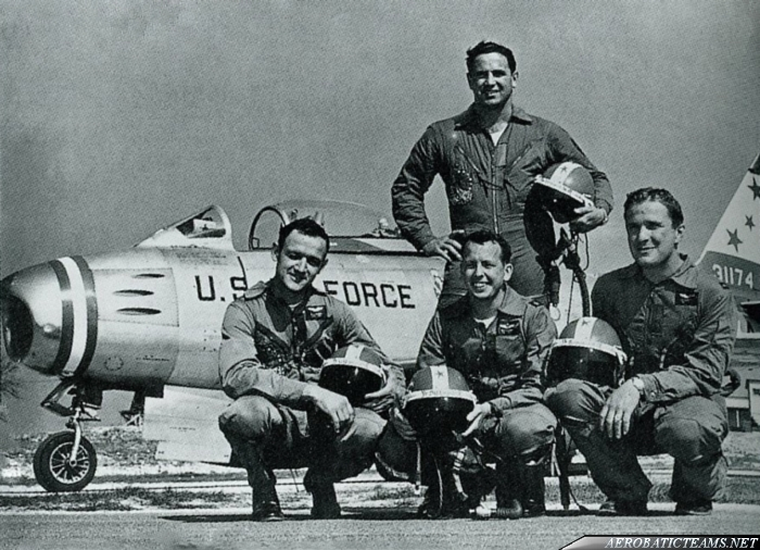 Skyblazers F-86F Sabre. 1954 Chaumont Airbase, France. Standing Capt. James Reynolds and from left to right: Capt. William Gilmore,  Maj. William Dillard and 1st Lt. Jack Bennett. Photo by Col. William Dillard via Devid Menard