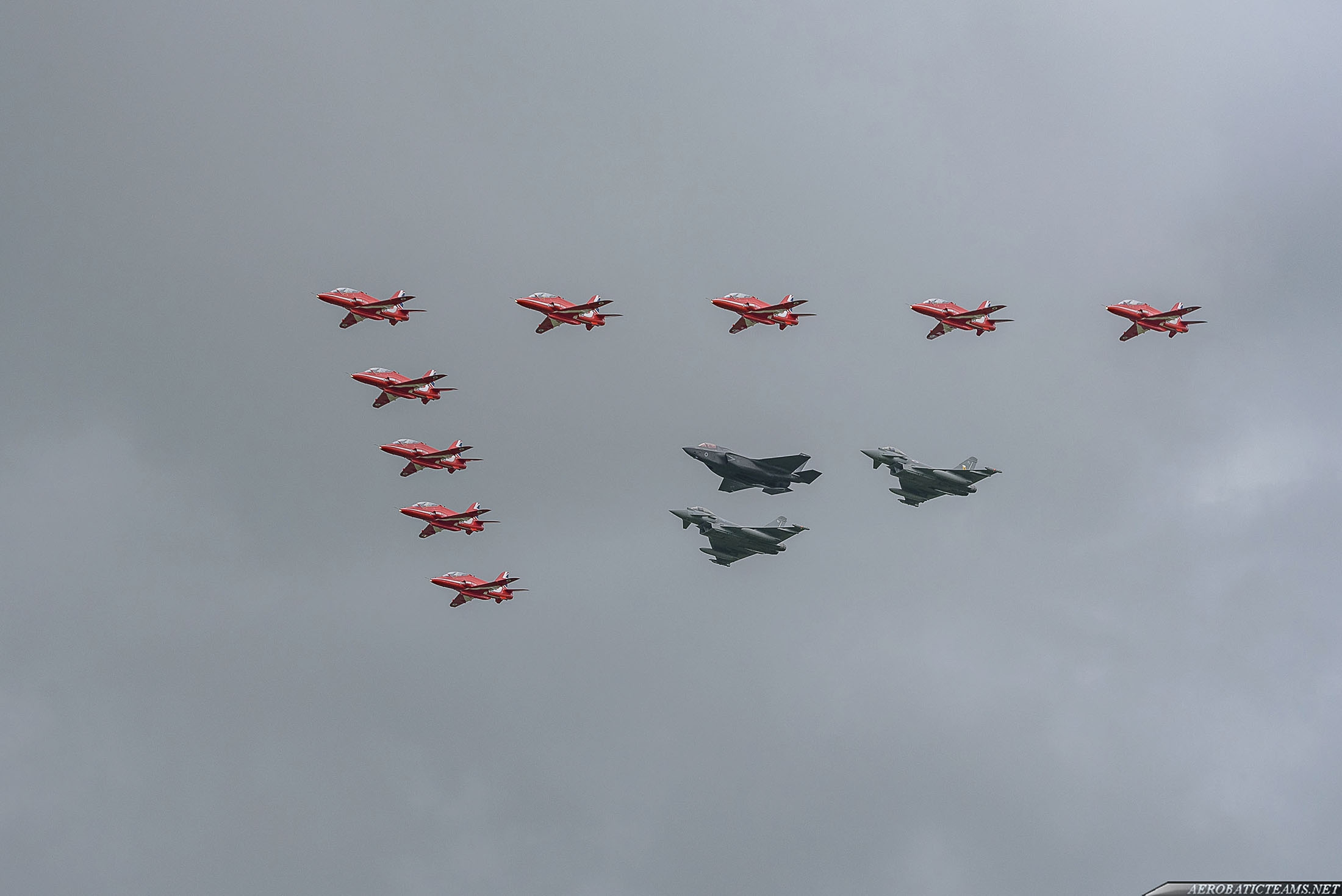 Red Arrows in formation flypast with RAF Typhoons and F-35 just before their display