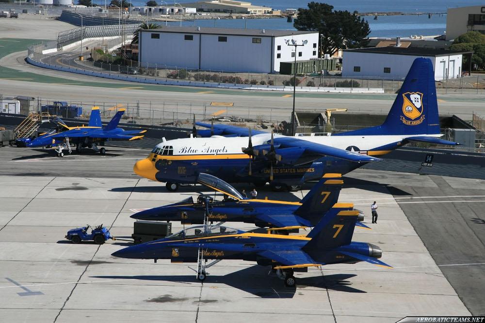 Blue Angels C-130 Fat Albert and F/A-18 Hornet