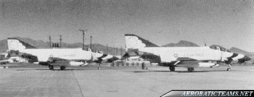 wo of the Thunderbirds Phantoms are seen here at Nellis in 1974, after the replacement by T-38 Talon, with their whited-out numbers awaiting for combat repainting