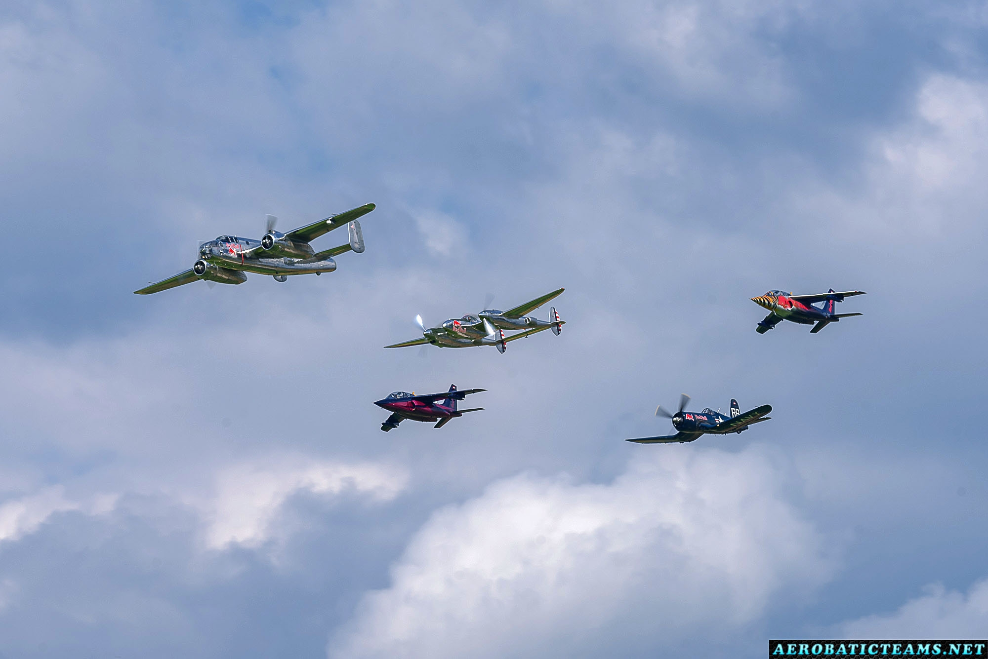 Red Bull formation - B-25 Mitchell, P-38 Lightning, F4U-4 Corsair and Alpha Jets
