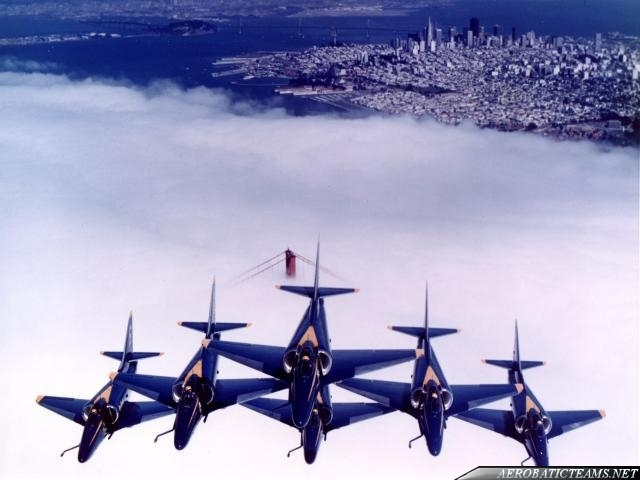 Blue Angels A-4F Skyhawk over San Francisco, one of the greatest aviation photos ever.