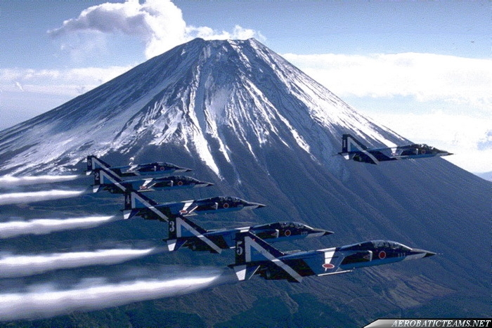 Blue Impulse Mitsubishi T-2 over Mount Fuji
