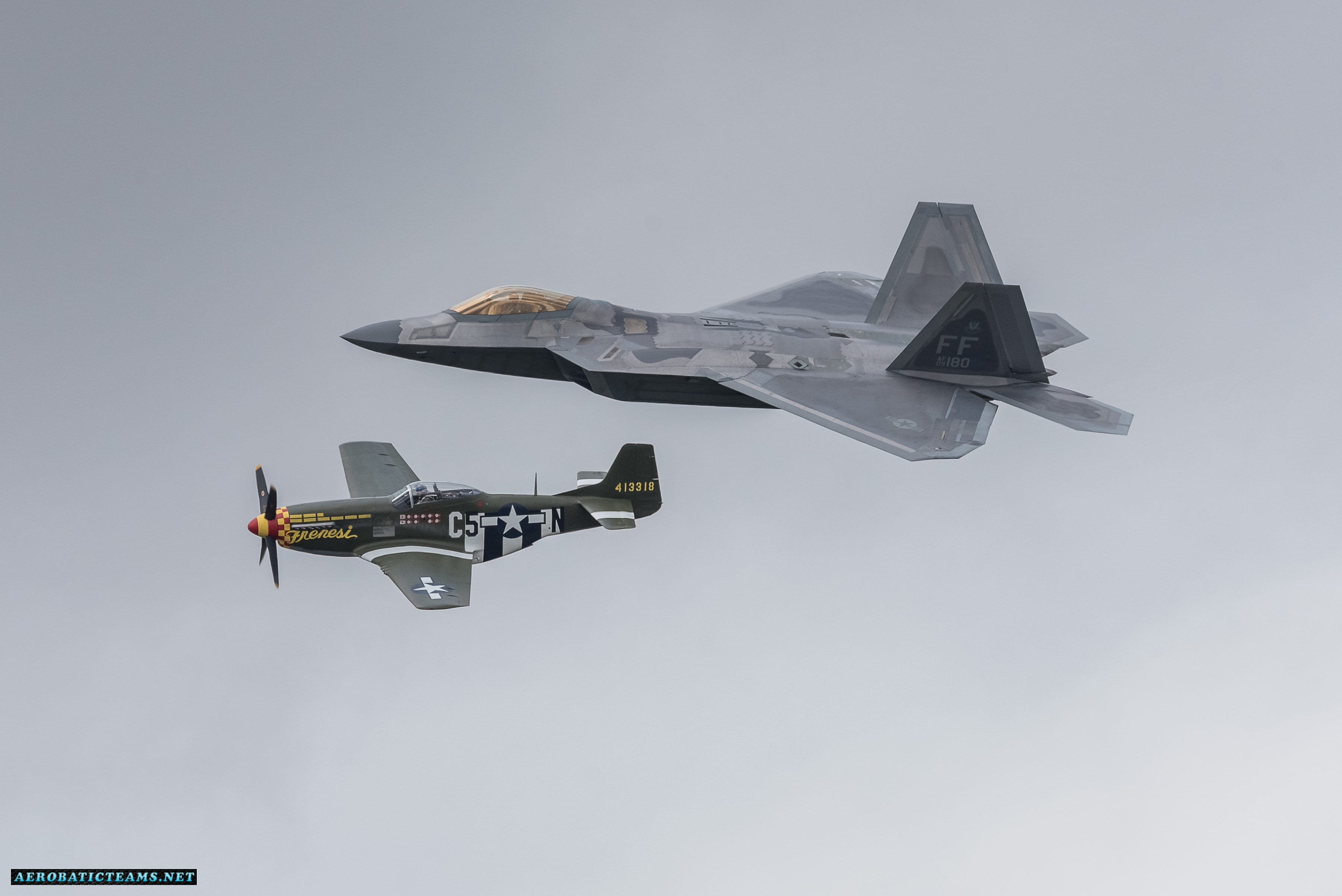F-22 Raptor Heritage Flight in formation with P-51 Mustang