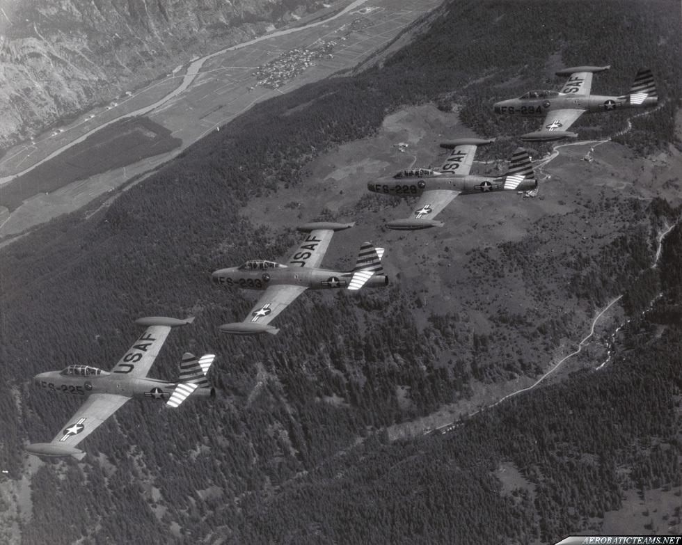 Skyblazers F-84E Thunderjet. Photo via Kelly Evans
