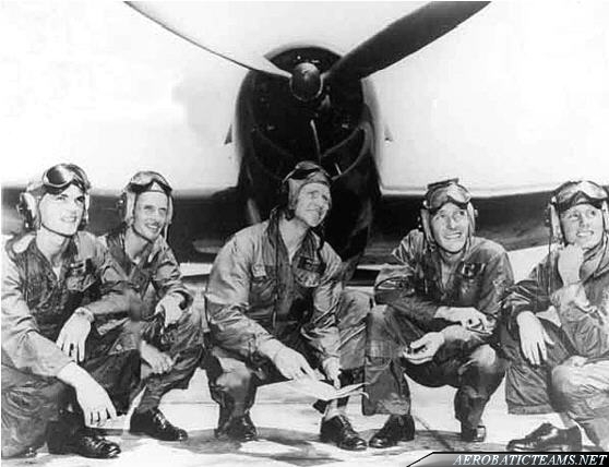 The first team's pilots. From left to right: Lieutenant Al Taddeo, Solo; Lieutenant (junior grade) Gale Stouse, Spare; Lieutenant Commander R.M. Voris,  Leader; Lieutenant Maurice Wickendoll, Right Wing; Lieutenant Mel Cassidy, Left Wing.