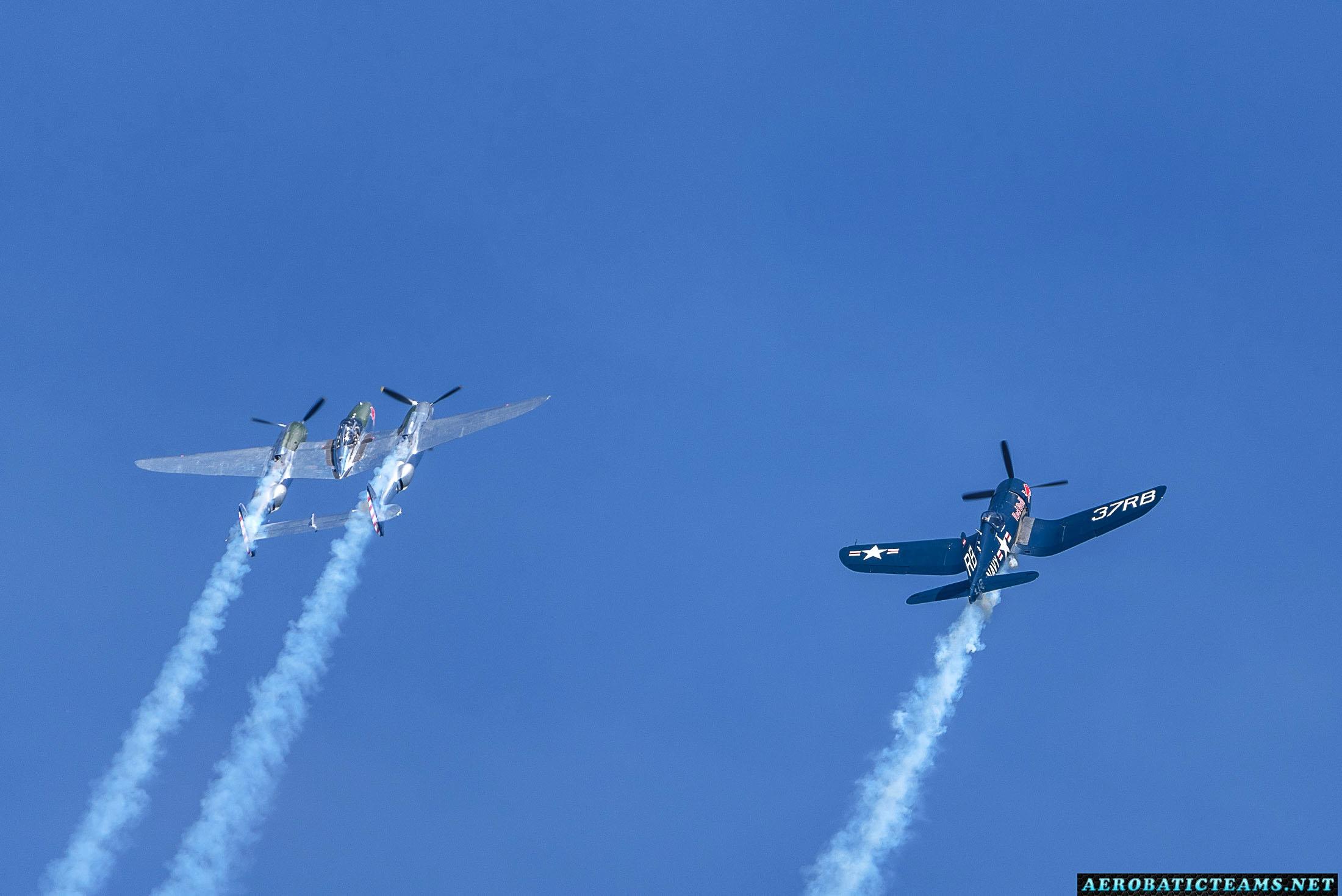 Red Bull P-38 Lightning and F4U-4 Corsair
