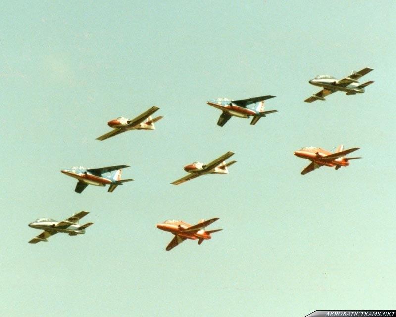 Asas de Portugal T-37C leading a formation of Red Arrows Hawk, Frecce Tricolori MB-339 and Patrouille de France Alpha Jet aircraft.