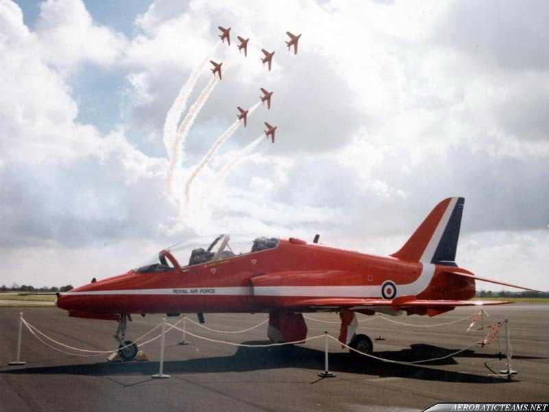 Red Arrows Gnat over team next aircraft the Hawk