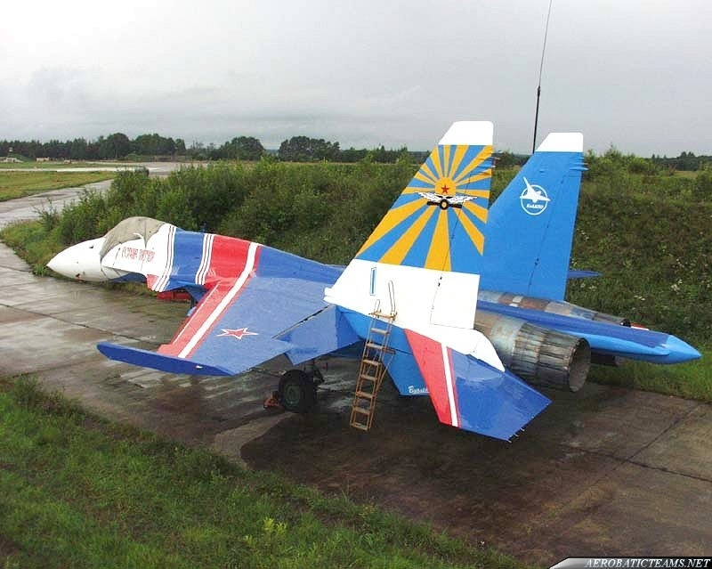 Su-35 painted in Russian Knights colors in 2003
