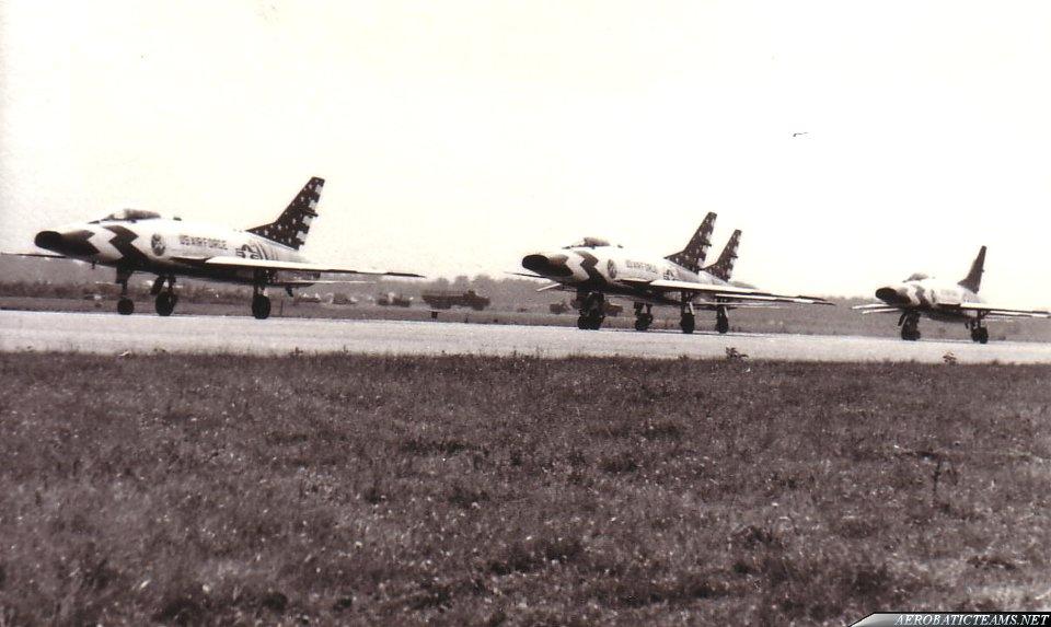 Skyblazers F-100C Super Sabre. Soesterberg 1958 takeoff. Photo via Piet Mulder