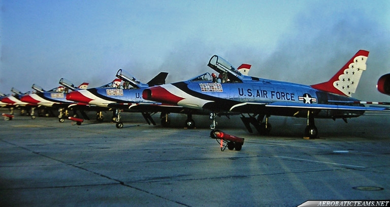 Thunderbirds F-100D Super Sabre. Laughlin AFB, Del Rio, Texas 1964. Photographer Joe Richard