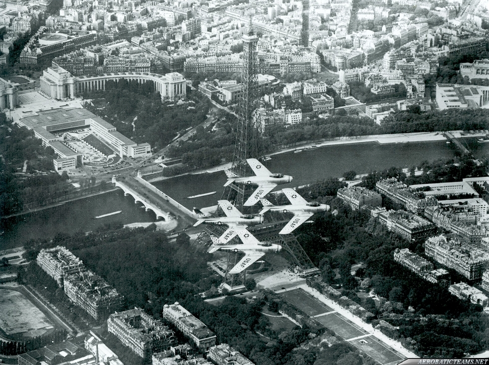 Skyblazers F-86F Sabre. Skyblazers over Eiffel Tower, Paris, 1955. Photo by Col. William Dillard via Devid Menard