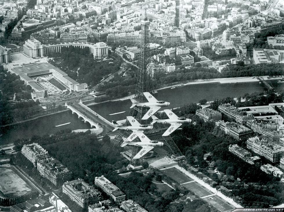 Skyblazers F-86F Sabre. Skyblazers over Eiffel Tower, Paris, 1955. Photo by Col. William Dillard via Devid Menard