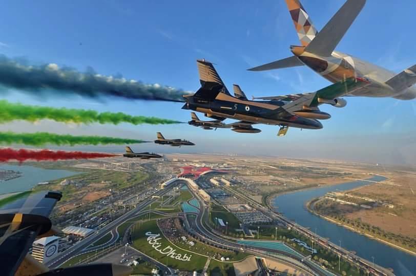 Etihad Airways A380 and Al Fursan aerobatic team flyover Abu Dhabi Formula 1 GP. Photo by Al Fursan team